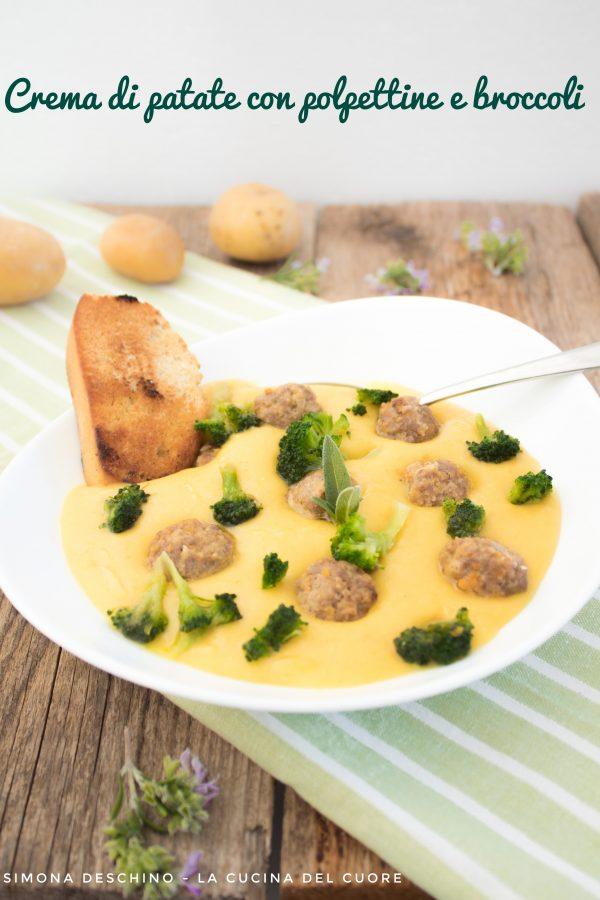 crema di patate, polpettine e broccoli ricetta