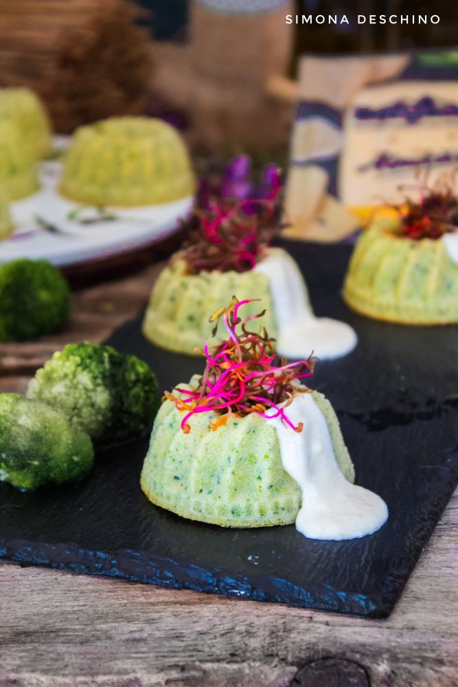 Flan di broccoli e zucchine e fettine Bergader