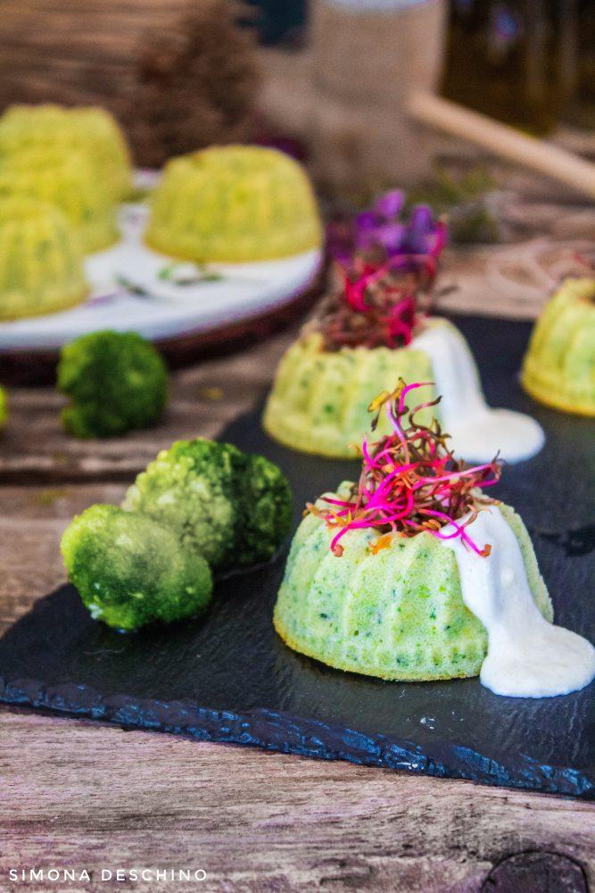 Bergader su flan di broccoli e zucchine