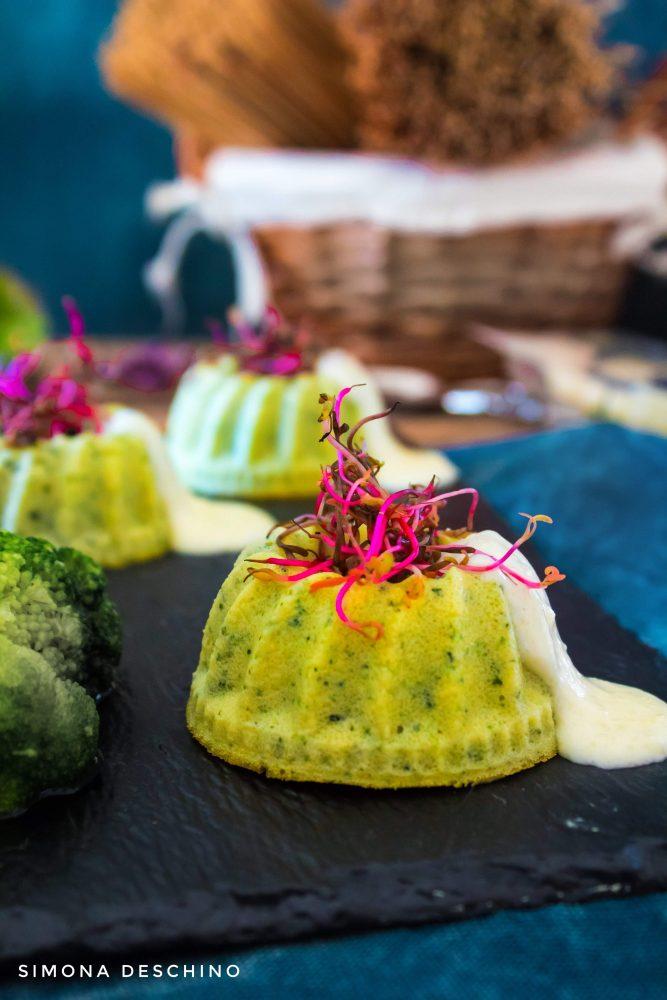 Flan di broccoli e zucchine con fonduta