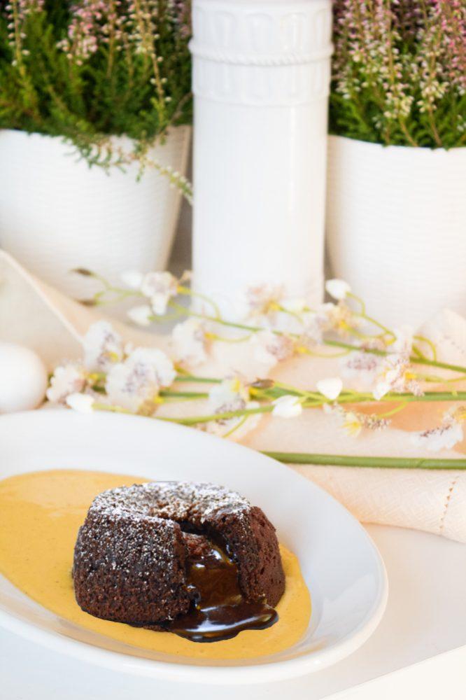 Tortino al cioccolato e Grand Marnier dal cuore caldo con crema inglese alla zucca e cannella procedimento